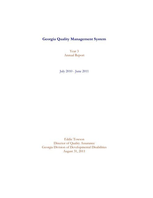 Georgia Quality Management System - Department of Behavioral ...