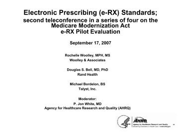 eRx - AHRQ National Resource Center; Health Information ...