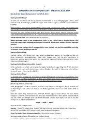 Botschaften an Maria Myrtha 2014 - aktuell bis ... - Gottes Warnung