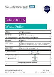 Policy: ICP10 Waste Policy - West London Mental Health NHS Trust