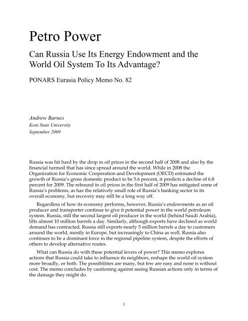influence - PONARS Eurasia