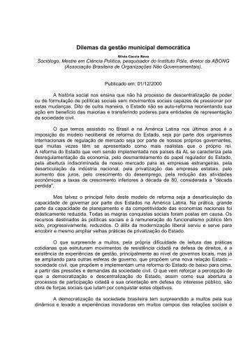 Dilemas da gestão municipal democrática - Empreende.org.br