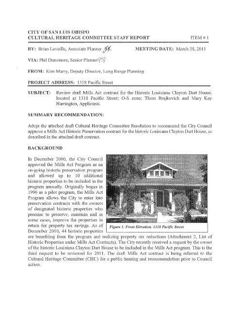 staff report - the City of San Luis Obispo
