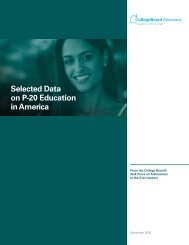 Selected Data on P-20 Education in America - College Board