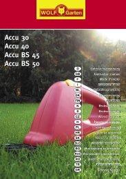 Accu 30 Accu 40 Accu BS 45 Accu BS 50 - WOLF-Garten NL
