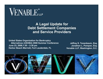 A Legal Update for Debt Settlement Companies and ... - Venable LLP