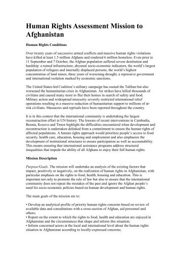 Human Rights Assessment Mission to Afghanistan - Center for ...