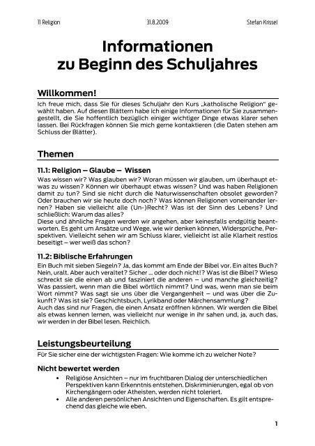 Informationen Zu Beginn Des Schuljahres Grã¼ezi Und