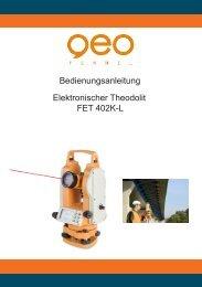 Bedienungsanleitung Elektronischer Theodolit FET 402K-L