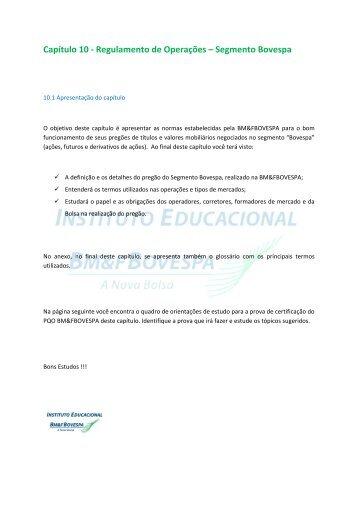 Capítulo 10 - Regulamento de Operações ... - BM&FBovespa