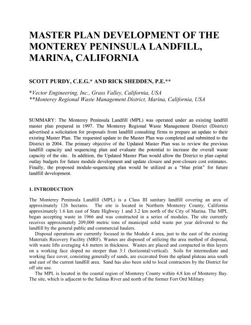 master plan development of the monterey peninsula ... - Ausenco
