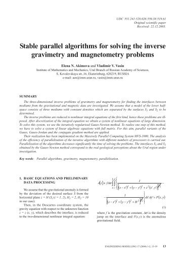 Stable parallel algorithms for solving the inverse gravimetry and ...