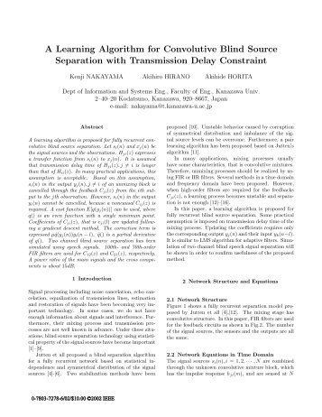 A Learning Algorithm for Convolutive Blind Source Separation with ...