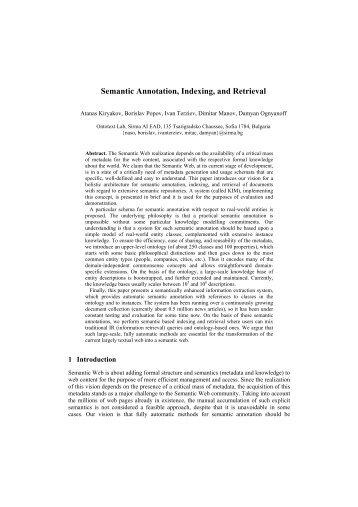 Semantic Annotation, Indexing, and Retrieval - Web Semantics