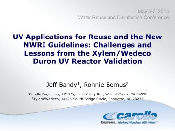 UV Applications for Reuse and the New NWRI Guidelines ...