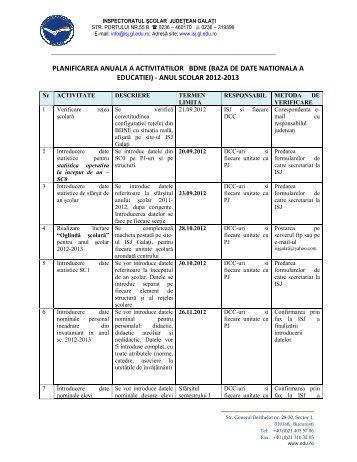 Calendarul realizarii lucrarilor din BDNE in anul scolar 2012-2013