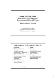 Einführung in die Physik I für Chemiker - Albert-Ludwigs-Universität ...
