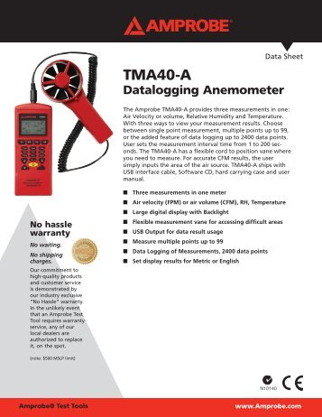 Data Sheet TMA40-A - Amprobe