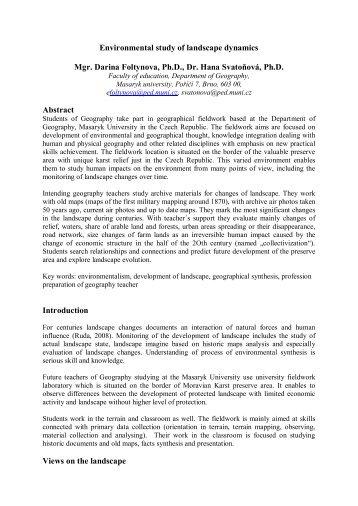 Environmental study of landscape dynamics - HERODOT Network ...
