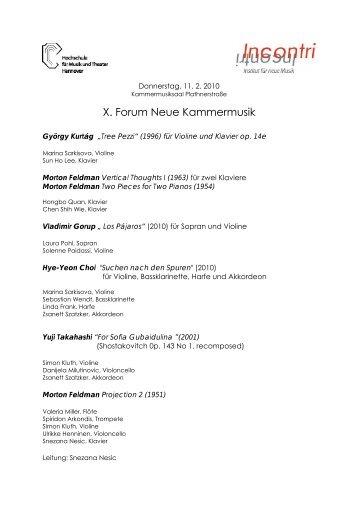 X. Forum Neue Kammermusik - Incontri - Institut für neue Musik