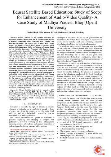 Edusat Satellite Based Education - International Journal of Soft ...