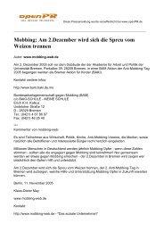Mobbing: Am 2.Dezember wird sich die Spreu vom Weizen ... - Blog.de