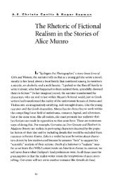 The Rhetoric of Fictional Realism in the Stories of Alice Munro