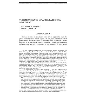 THE IMPORTANCE OF APPELLATE ORAL ARGUMENT