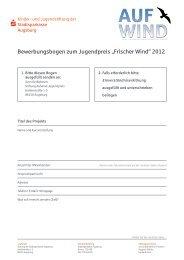 """Bewerbungsbogen zum Jugendpreis """"Frischer Wind"""" 2012"""