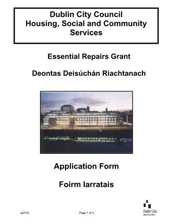 Dublin City Council Essential Repairs Grant - Dublin.ie