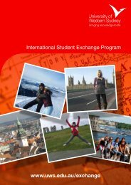 International Student Exchange Program www.uws.edu.au/exchange