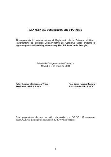 1 A LA MESA DEL CONGRESO DE LOS DIPUTADOS Al ... - CCOO