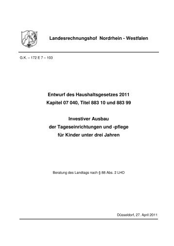 Entwurf des Haushaltsgesetzes 2011 Kapitel 07 040, Titel 883 10 ...