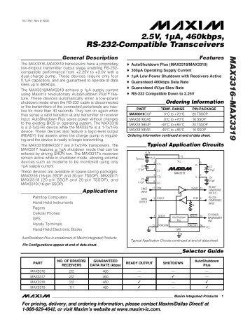 MAX3316–MAX3319 2.5V, 1µA, 460kbps, RS-232 ... - Maxim