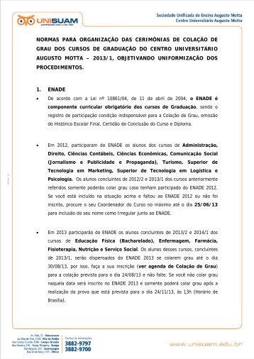 NORMAS PARA ORGANIZAÇÃO DAS CERIMÔNIAS DE ... - Unisuam