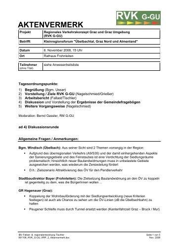 Protokoll Kleinregionsforum Übelbachtal u. Graz-Nord am 6. 11 ...