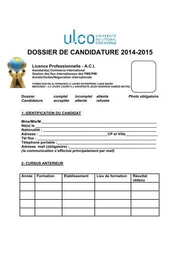 Dossier d'inscription en licence - Université du Littoral Côte d'Opale