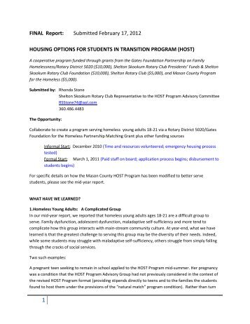 HOST Program year-end report - National Association for the ...