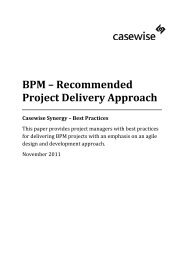 Casewise Synergy BPM Recommended Project Delivery Approach