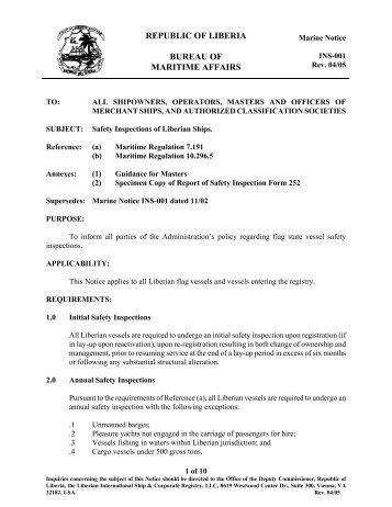 Marine Notice INS-001 dated 11 - liscr
