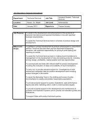 Job Description (Generali International) Department Technical ...
