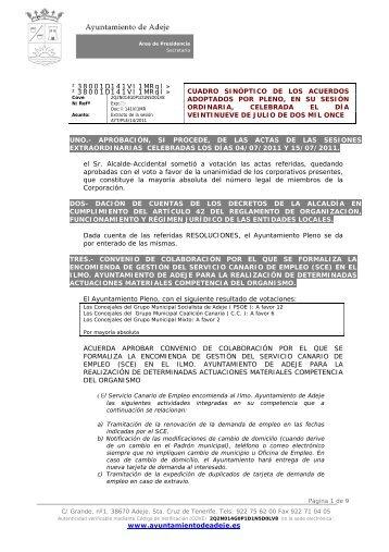 Extracto de los acuerdos - Ayuntamiento de Adeje