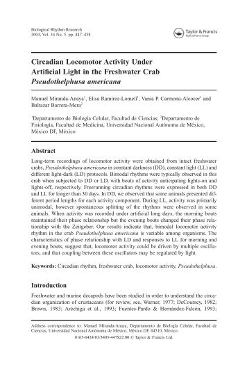 Circadian Locomotor Activity Under Artificial Light in the Freshwater ...