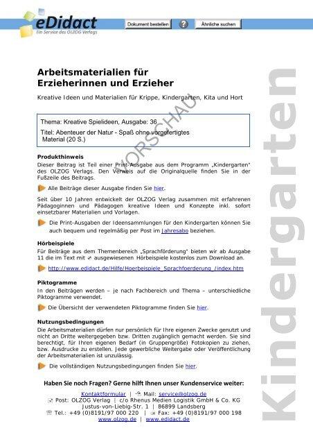 Waldprojekt - Allgemeine Richtlinien - beim OLZOG Verlag