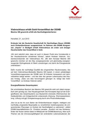 Vor-Zertifikat der DGNB in Gold - Viebrockhaus
