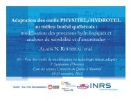 Adaptation des outils PHYSITEL/HYDROTEL au milieu ... - Ouranos