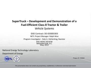 SuperTruck – Development and Demonstration of a Fuel-Efficient ...