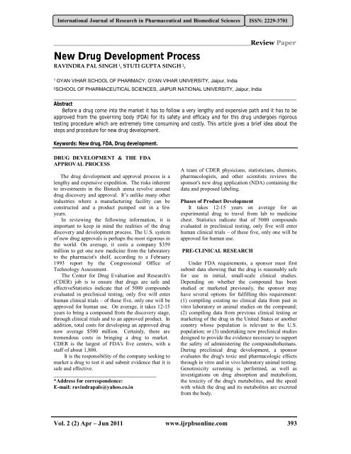 New Drug Development Process - International Journal of