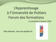 L'Apprentissage à l'Université de Poitiers Forum des formations