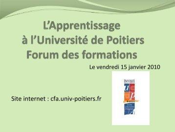 L'Apprentissage à l'Université de Poitiers Forum des formations